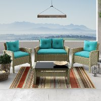 4 Piece Gray and Turquoise Wicker Patio Set - Cascade