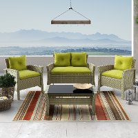 Gray and Lime Green 4 Piece Wicker Furniture Set - Cascade