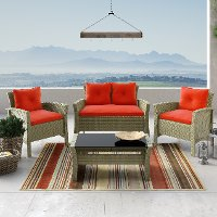 Gray and Red 4 Piece Wicker Furniture Set - Cascade