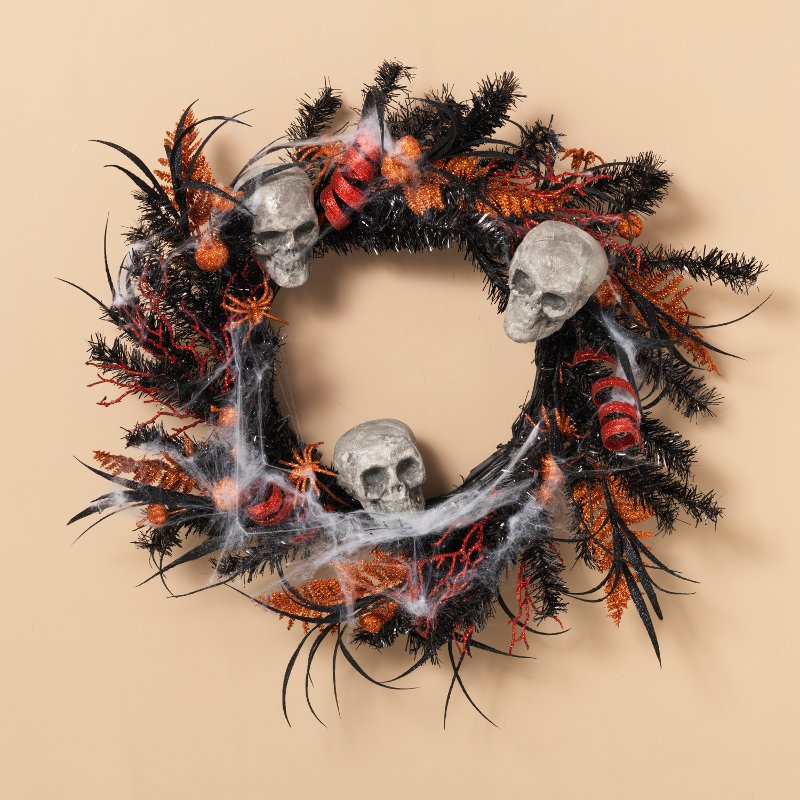 22 inch halloween wreath with skeleton skulls and spiders rcwilley image1~800