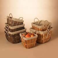 Assorted 10 Inch Chip Wood Basket With Liner