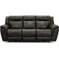 Charcoal Gray Leather-Match Manual Reclining Sofa - Trent