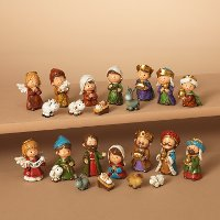 Assorted Resin 11 Piece Nativity Set In Red Window Box