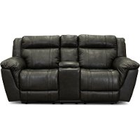 Charcoal Gray Leather-Match Manual Reclining Loveseat with Console - Trent