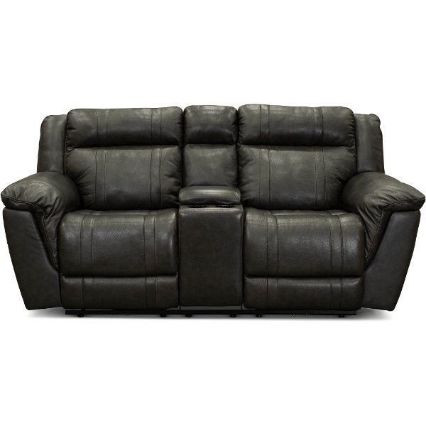... Charcoal Gray Leather Match Manual Reclining Loveseat With Console    Trent