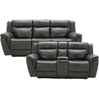 Gray Leather-Match Manual Reclining Living Room Set - Trent
