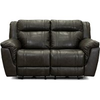 Charcoal Gray Leather-Match Power Reclining Loveseat - Trent