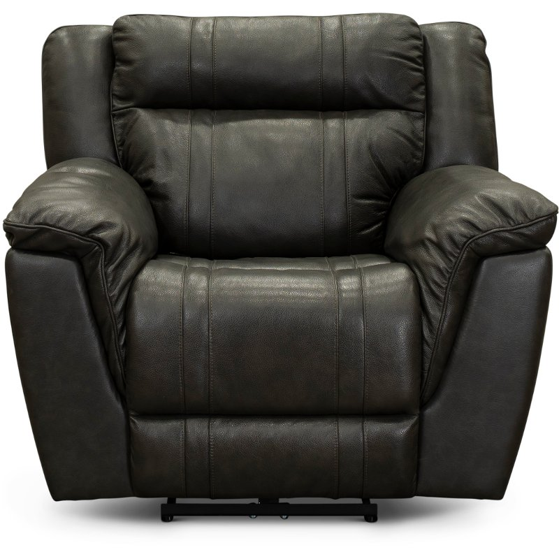 Charcoal Gray Leather Match Recliner T Rc Willey Furniture