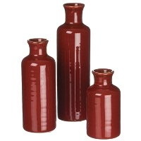 5 Inch Red Ceramic Bottle Vase