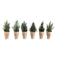 Assorted Faux Tree Arrangement with Paper Wrapped Pot