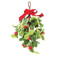 10 Inch Felt Red Berry and Green Leaf Bunch With Bow