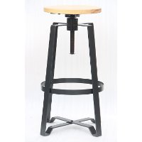 Pine and Metal Adjustable Counter Height Stool (Set of 2) - Reservation Seating