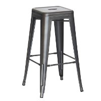 Charcoal Gray Indoor/Outdoor Stacking Metal Bar Stool (Set of 4) - Reservation Seating