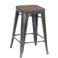 Wood and Metal Counter Height Stool (Set of 4) - Reservation Seating
