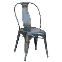 Set of 4 Gray Metal Industrial Dining Chairs - Reservation Seating