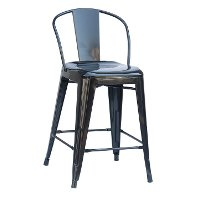 Black Round Back Metal Counter Height Stool (Set of 4)