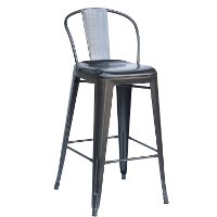 Charcoal Round Back Indoor-Outdoor Metal Bar Stool (Set of 4)