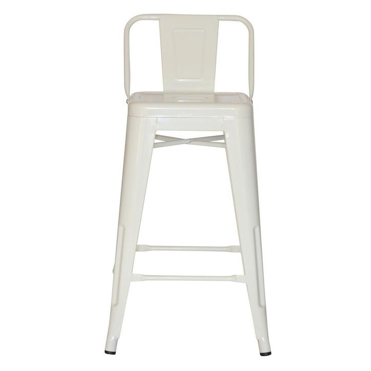 White Square Back Counter Height Stool