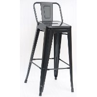Black Indoor-Outdoor Square Back Bar Stool (Set of 4)