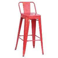 Red Indoor-Outdoor Square Back Bar Stool (Set of 4)