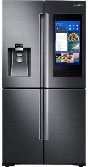 samsung black stainless steel. RF22N9781SG Samsung 4-door Family Hub 3.0 Refrigerator - 36 Inch Black Stainless Steel