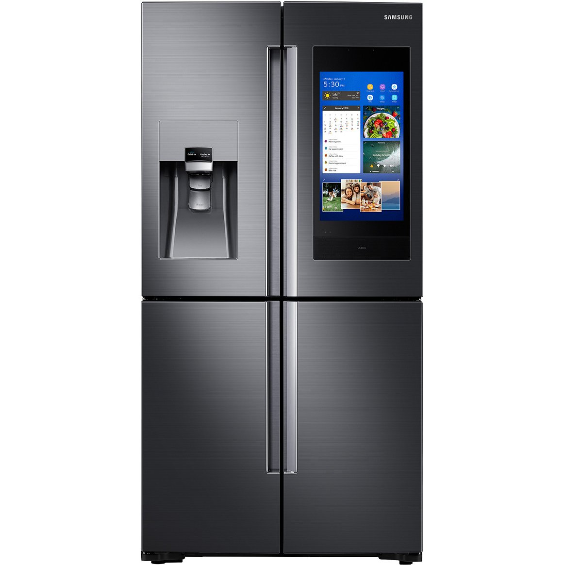 Samsung 4 Door French Door Smart Refrigerator With Family Hub And Flexzone 27 9 Cu Ft 36 Inch Black Stainless Steel