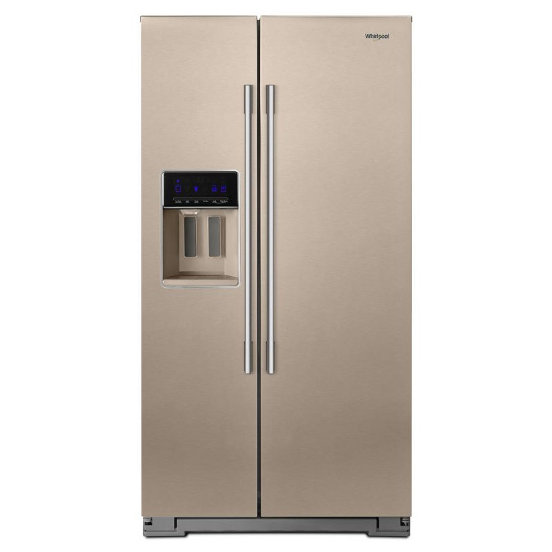 Whirlpool Side By Refrigerator With Exterior Ice And Water Dispenser Everydrop Filtration 36 Inch Sunset Bronze Rc Willey Furniture