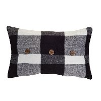 Black and White Plaid Throw Pillow with Buttons