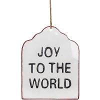 Joy To The World Enamel Hang Tag Sign