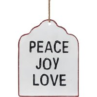Peace Joy Love Enamel Hang Tag Sign