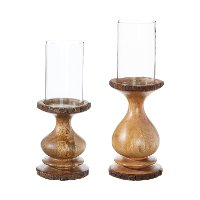 14 Inch Mango Wood and Glass Candle Holder