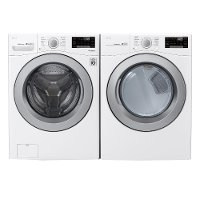 KIT LG Front Load Washer and Dryer with SmartDiagnosis Set - White Electric