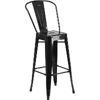 High Back Black Indoor-Outdoor Metal Barstool