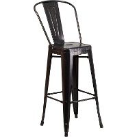 High Back Antique Black Indoor-Outdoor Metal Bar Stool