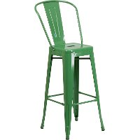 High Back Green Indoor-Outdoor Metal Bar Stool - Bistro
