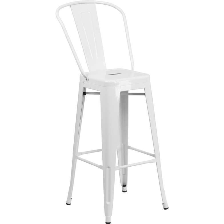 Admirable High Back White Indoor Outdoor Metal Bar Stool Bistro Theyellowbook Wood Chair Design Ideas Theyellowbookinfo