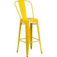 High Back Yellow Indoor-Outdoor Metal Bar Stool - Bistro