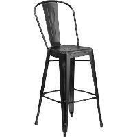 High Back Distressed Black Metal Indoor-Outdoor Bar Stool