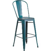 Distressed Teal Blue Metal Indoor-Outdoor Barstool
