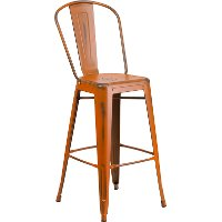 Distressed Orange Metal Indoor-Outdoor Barstool