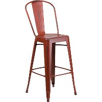 Distressed Kelly Red Metal Indoor-Outdoor Barstool