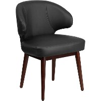 Small Black Leather Accent Chair