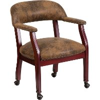 Vintage Brown Microfiber Accent Chair with Casters