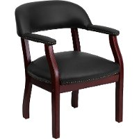 Sophisticated Black Vinyl Accent Chair