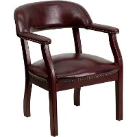Sophisticated Burgundy Vinyl Accent Chair