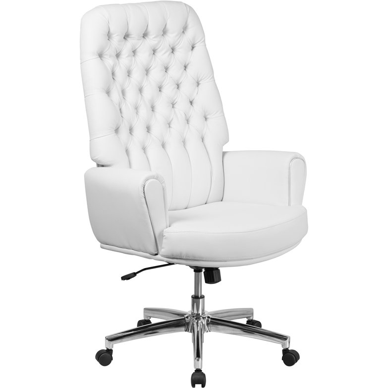 High Back White Leather Executive Office Chair - Erico