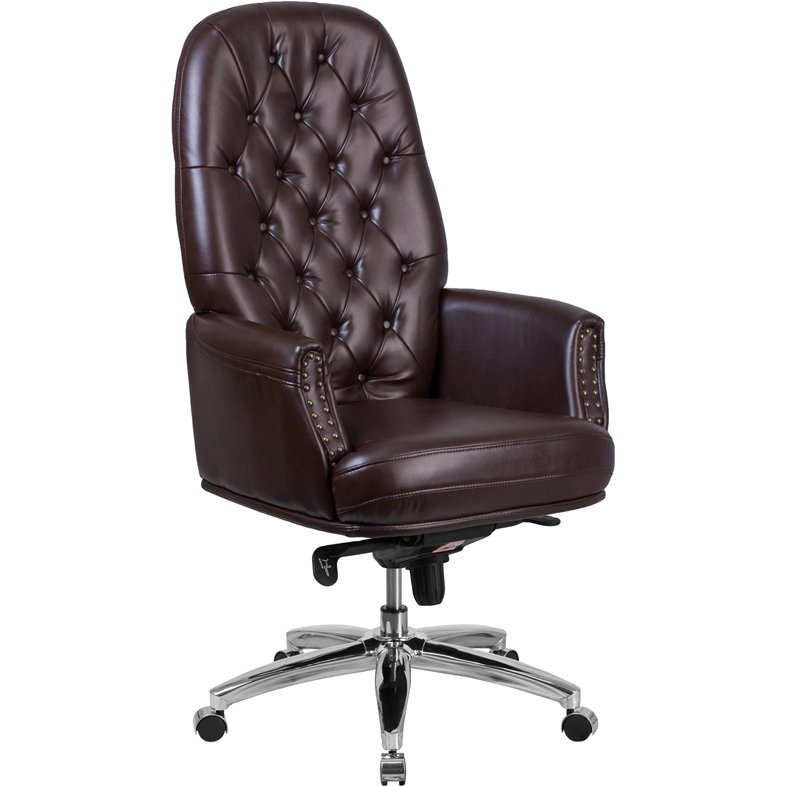 High Back Brown Leather Office Chair - Erico