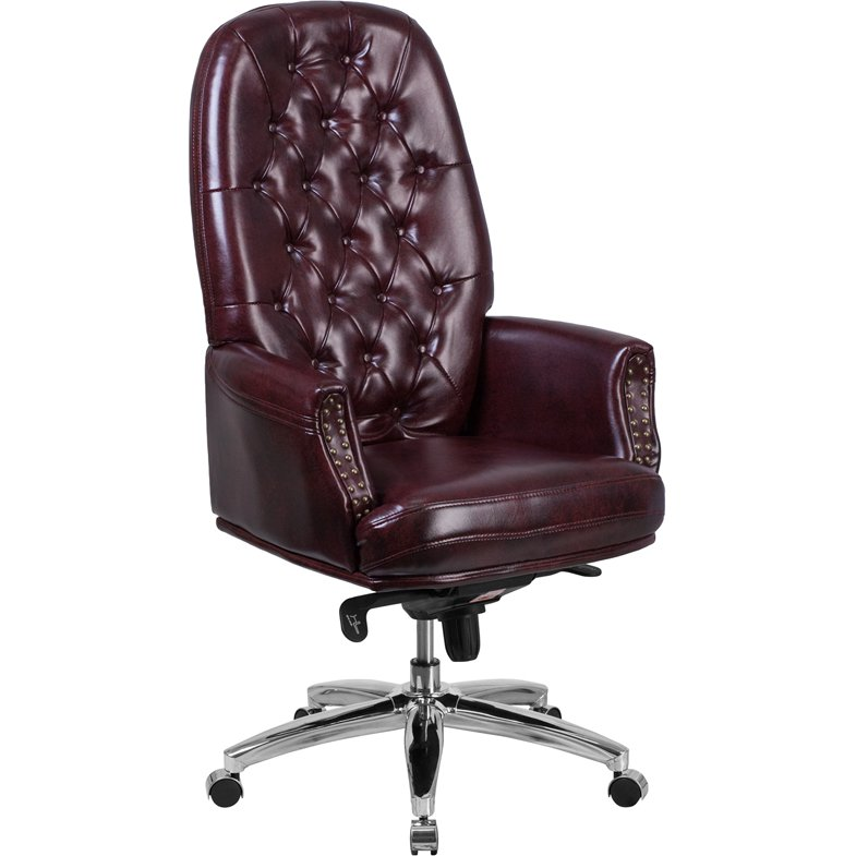 High Back Burgundy Leather Office Chair - Erico