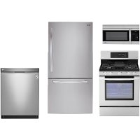 LG-33WBTM-S/S-GAS LG 4 Piece Gas Kitchen Appliance Package with Bottom Freezer Refrigerator - Stainless Steel