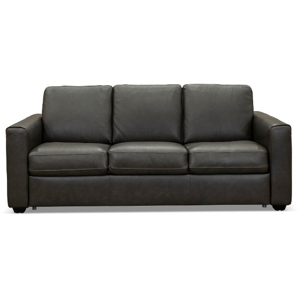 Charcoal Gray Leather Match Queen Sofa Bed Denver